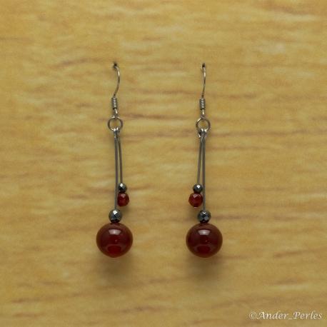 Boucles Oreilles Agate Rouge & Hématite