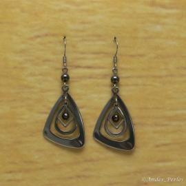 Boucles Oreilles Hématite Triangle Inox