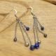 Boucles Oreilles Triple Chaînes Lapis-Lazuli & Hématite