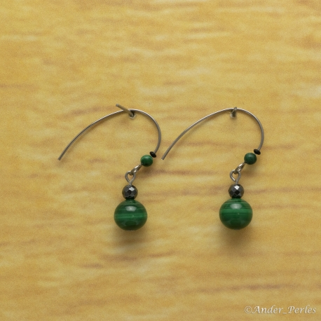 Boucles Oreilles Malachite & Hématite Grand Crochet