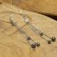 Boucles Oreilles Triple Chaines Inox & Hématite