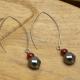 Boucles Oreilles Grand Crochet Hématite & Agate Rouge