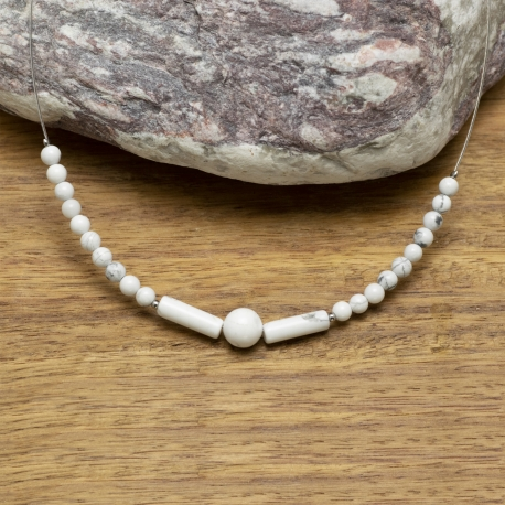 Collier Howlite Rondes & cylindriques