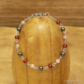 Bracelet Chaîne Agate Rouge Hématite Pierre de Soleil