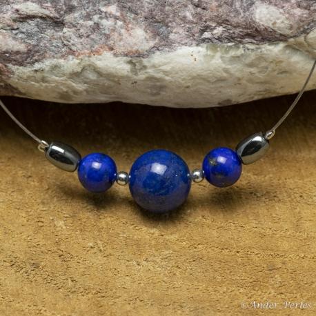 Collier Fil inox Lapis-Lazuli Hématite Olive