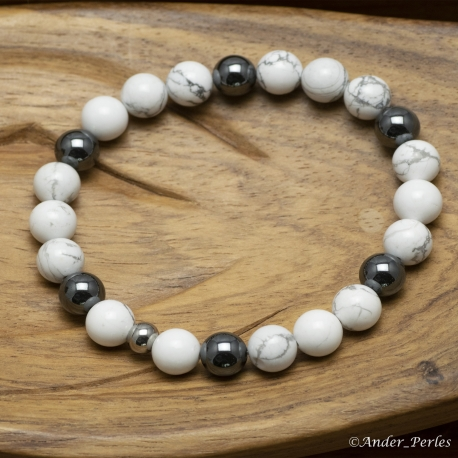 Bracelet Extensible en Howlite & Hématite