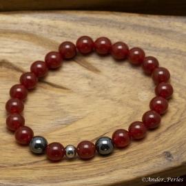 Bracelet Extensible en Agate Rouge & Hématite