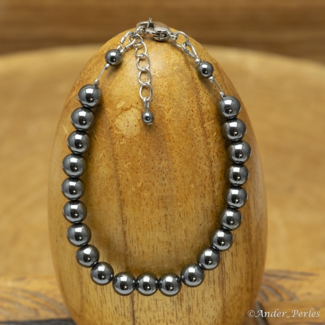 Bracelet Fil Inox Hématite Ronde 6 mm