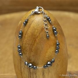 Bracelet Fil Inox Hématite Facettée & Ronde