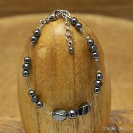 Bracelet Fil Inox Hématite Carrée & Torsadée