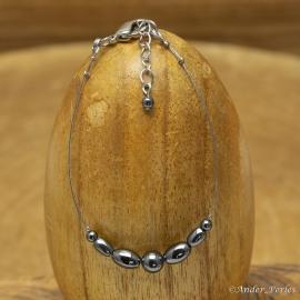 Bracelet Fil Inox Hématite Olive & Ronde