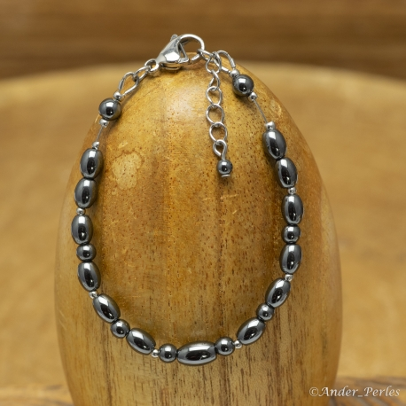 Bracelet Fil Inox Hématite Olive