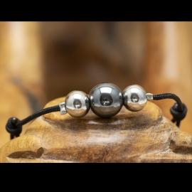 Bracelet Fil Coton Ajustable Hématite & Billes Inox