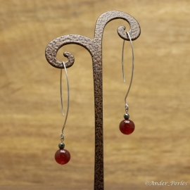 Boucles d'oreilles argent 925 Rhodié Agate Rouge Hématite