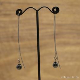 Boucles d'oreilles Chaine & Tige argent 925 Rhodié sur Hématite