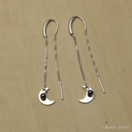 Boucles d'oreilles en Argent 925 Demi-Lune & Hématite