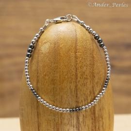 Bracelet Argent 925 Rhodié & Hématite