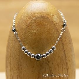 Bracelet Fil Inox Hématite Carrée & Facettée