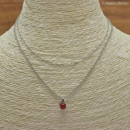Collier Double Chaîne en Inox Agate Rouge