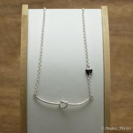 Collier Chaine en Argent 925 Pendentif Nœud Hématite Coeur