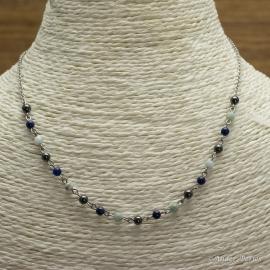 Collier Chaîne en acier Inoxydable Hématite, Larimar, Lapis-Lazuli