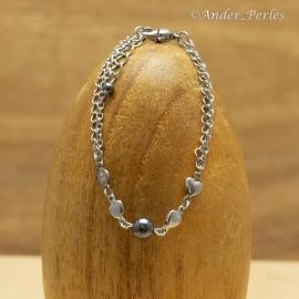 Bracelet Double Chaînes & Breloques Inox & Hématite