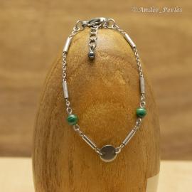 Bracelet Chaîne & Tubes & Breloques Inox & Malachite
