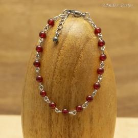 Bracelet Chaîne en Inox & Agate Rouge