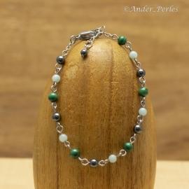 Bracelet Chaîne en Inox & Hématite Malachite Amazonite