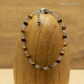 Bracelet Chaîne en Inox & Oeil de Tigre