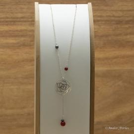 Collier Chaine & Rosace en Argent 925 Agate Rouge & Hématite