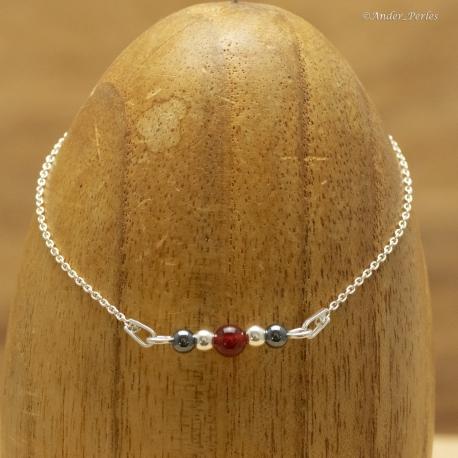 Bracelet chaine & Billes en Argent 925 Hématite Agate Rouge