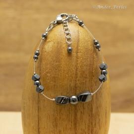 Bracelet Fil en Inox & Pierres d'Hématite Multi-Forme
