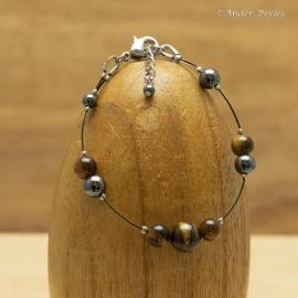 Bracelet Fil en Inox Pierres d'Hématite & Oeil de Tigre