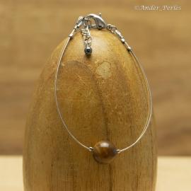 Bracelet double Fils en Inox & Pierre d'Oeil de Tigre