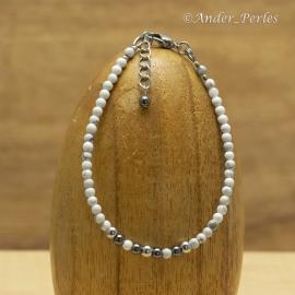 Bracelet Fil en Inox & Enfilade de pierres d'Howlite & Hématite