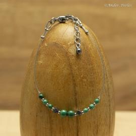 Bracelet Fil en Inox & semi-Enfilade de Malachite & Hématite