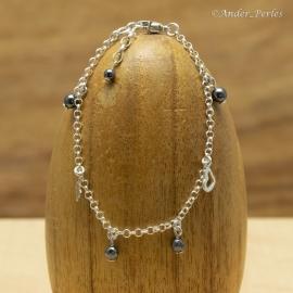 Bracelet chaine & breloques en Argent 925 & Hématite