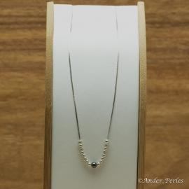 Collier Chaine & billes en Argent 925 & Hématite