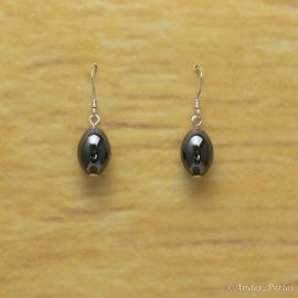 Boucles d'oreilles Hématite olive
