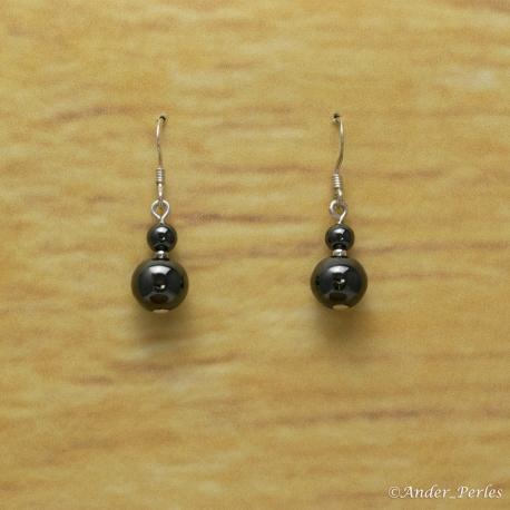 Boucles d'oreilles double hématite ronde