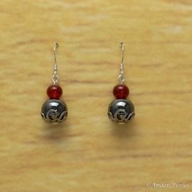 Boucles d'oreilles Hématite Agate Rouge