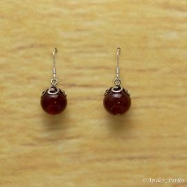 Boucles d'oreilles Agate Rouge Ronde