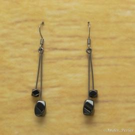 Boucles d'oreilles  double Hématites torsadées