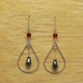 Boucles d'oreilles Hématite Olive & Agate Rouge