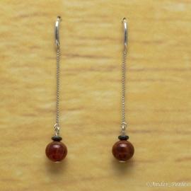 Boucles d'oreilles Chaîne & Agate rouge