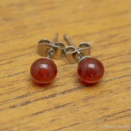 Boucles Oreilles Agate Rouge