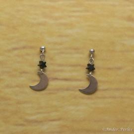 Boucles d'oreilles Hématite Lune