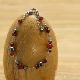 Bracelet Hématite et Agate rouge