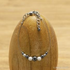 Bracelet Hématite et Howlite